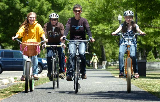 The Rovins family — Emme, 12, Susanna, Sacha, 8, Mitch and Anna, 16, — enjoy taking rides along the bike path in Linwood.