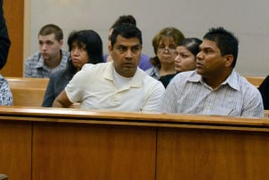 BYRD SENTENCING: Family of victims Sunil Rattu and Radha Ghetia react to the sentencing of killer Philip Byrd, 22, of Camden, Friday June 7, 2013, in Mays Landing, where he was sentenced to 47 years in prison. He pleaded guilty to a casino carjacking that left Sunil Rattu dead and his girlfriend Radha Ghetia injured. (The Press of Atlantic City/Staff Photo by Michael Ein)  - Michael Ein