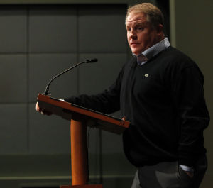 Chip Kelly: Eagles coach Chip Kelly meets with the media today in Philadelphia. Kelly announced his coaching staff and said that Michael Vick had agreed to a restructured contract that will keep him with the team.