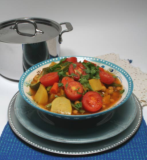 Colorful Moroccan stew  calls for seven vegetables