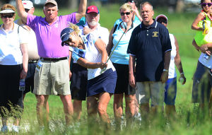 LPGA: Natalie Gulbis hits from the spectator line to the 18th Green. Saturday June 1 2013 LPGA ShopRite Classic at Seaview Resort in Galloway. Day 2 (The Press of Atlantic City / Ben Fogletto)  - Ben Fogletto