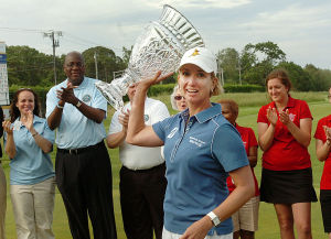 LPGA: Karrie Webb holds up the trophy on the 18th green. Sunday June 2 2013 LPGA ShopRite Classic at Seaview Resort in Galloway. Final Day. (The Press of Atlantic City / Ben Fogletto)  - Ben Fogletto