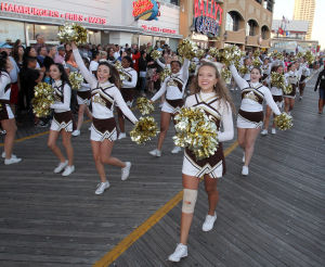 "Miss America Parade: Absegami Cheerleaders. Miss America ""Show Me You Shoes"" Parade on the Atlantic City Boardwalk Thursday Sept. 12, 2013,. (Dale Gerhard Photo/Press of Atlantic City) - Dale Gerhard"