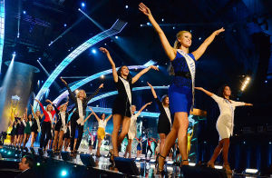 Miss America 1 PRELIMS: Contestants dance on runway for opening number. Tuesday September 10 2013 First night of competition, Miss America Pageant, Boardwalk Hall, Atlantic City. (The Press of Atlantic City / Ben Fogletto) - Ben Fogletto