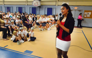 Miss A Visit: Miss America Nina Davuluri answers questions from the children. Tuesday October 1 2013 Miss America Nina Davuluri visits St. Joseph's Regional Catholic School in Somers Point. (The Press of Atlantic City / Ben Fogletto) - Ben Fogletto