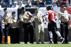 Eagles Camp Report: Analysis Of Special Teams: Eagles quarterback Michael Vick meets with members of the military at the team's annual training camp Military Day at Lincoln Financial Field in Philadelphia on Monday.