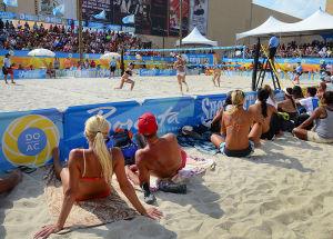 AVP VOLLEYBALL FINALS: Crowd watches Women's final. Sunday September 8 2013 AVP beach volleyball tournament in Atlantic City. (The Press of Atlantic City / Ben Fogletto) - Ben Fogletto