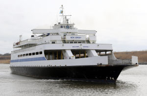 Ferry Future: The MV New Jersey, leaves the Cape May terminal for Lewes Delaware. The Cape May Lewes Ferry system celebrates it's 50th year of operation in 2014 and the Delaware River and Bay Authority, which operates the ferry, is looking into ways to modernize the ferries for the next 50 years. Wednesday Feb. 12, 2014. (Dale Gerhard/Press of Atlantic City) - Dale Gerhard