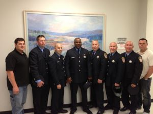 Atlantic City Fire Captains: Pictured, from left,are Atlantic City firefighters union President Mike Emmell; new captains Mike Macready, Ariel Beltran,Eddie Brown,Brian Adams,Bryan Costabile andMichael Costabile; and union Vice President Vince Carleo.