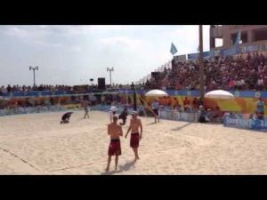 Introductions before the men's final at the Atlantic City AVP event