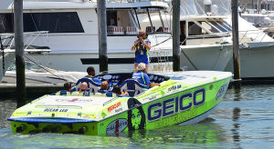 AC Offshore Grand Prix Advance: ADVANCE - Team Geico based out of Riveria Beach Fl., heads out from the marina for a run. - Power boats dock in slips at the Farley Marina. Saturday June 22 2013 Atlantic City Offshore Grand Prix at Farley Marina, Atlantic City. (The Press of Atlantic City / Ben Fogletto)  - Ben Fogletto