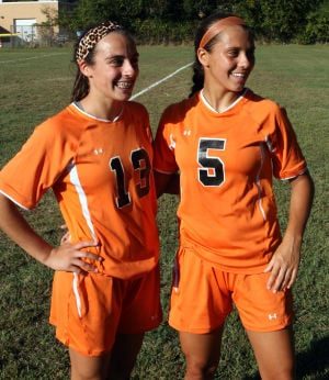 MiddleTwpSoccer: Sisters Jennifer (left) and Danielle McCann of Cape May Court House, are stand-out players for the Middle Township girls varsity soccer team. Wednesday Sept. 25, 2013. (Dale Gerhard Photo/Press of Atlantic City) - Dale Gerhard