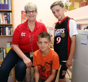 Alice Wolfe: Ocean City Primary School nurse Alice Wolf, with Sean Randles, 8, center, and his brother, Colin, 9. Both boys have cystic fibrosis. - Dale Gerhard