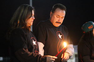 Vigil For Matthew Uhl: Dawn and Albert Uhl, parents of Matthew Uhl take part in candlelight vigil for their son.  - Edward Lea