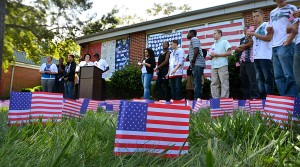 Flags For 9/11: Students in 2012 staged a ceremony around 746 American flags in front of Y.A.L.E. School East in Northfield to represent the 746 New Jersey residents killed died in the terrorist attacks on Sept. 11, 2001. - Ben Fogletto