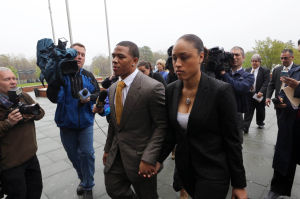 Ray Rice Arrainged: Ray Rice and his girlfriend Janay Palmer arrive at the Atlantic County Criminal Courthouse in Mays Landing Thursday morning. - Vernon Ogrodnek