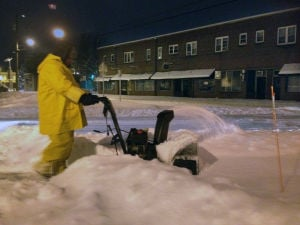 Snow Storm: Kevin Wooton, of Hammonton, clears snow from sidewalks at Hammonton's town hall, Thursday Feb. 13, 2014. (Staff Photo by Michael Ein/The Press of Atlantic City) - Michael Ein