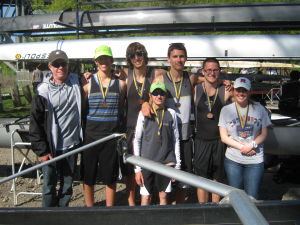 EHT Boys Lightweight 4: The Egg Harbor Township Lightweight 4 poses with their third place medals that they won Sunday the Philadelphia City Championships. From left to right, coach Bob Kerstetter, Danny Warrell, Bryan Scheeler, Matt Erlandson, Greg Diggins, Eric Battisti  and coach Erin Kerstetter. If you have any photos from Sunday's race, email them to sports@pressofac.com and we can post them online with the story.  - Submitted by Amy Diggins