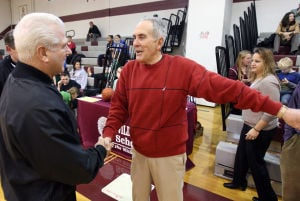 : Wildwood High School girls basketball coach Dave Troiano won his 600th career coaching victory in a win against Cape May County Technical High School. Troiano talks to the refs prior to the start of the game. Tuesday Jan. 29, 2013. (Dale Gerhard/Press of Atlantic City)  - Photo by Dale Gerhard