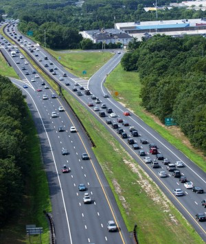 Traffic: Traffic crawls on the Garden State Parkway southbound at Exit 37 South.  - Press photo by Scott E. Stetzer