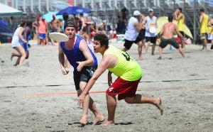 Wildwoods Beach Frisbee: Saturday July 27 2013 Wildwoods Beach Frisbee Tournament on the beach at Poplar Avenue. (The Press of Atlantic City / Ben Fogletto) - Ben Fogletto