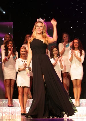 Miss New Jersey: OCEAN CITY, NJ Miss America 2013, Mallory Hagan joins the twenty-three contestants all vying for the title of Miss New Jersey 2013 introduce themselves to the audience as they walk the runway on the Ocean City Music Pier, Saturday evening, June 15, 2013  - Photo by Donald B. Kravitz