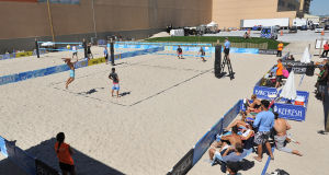 AVP BEACH VOLLEYBALL: Qualifier matches are being played, Friday Sept. 6, 2013, at the AVP Beach Volleyball tournament in Atlantic City. (Staff Photo by Michael Ein/The Press of Atlantic City) - Michael Ein