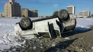 SUV with man, two children overturns on Atlantic City beach