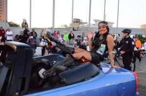 Miss America Parade: Miss South Dakota Tessa Dee 'Shows her Shoes' during last years Miss America Parade in Atlantic City. The parade this year takes place on the Atlantic City Boardwalk Saturday, Sept. 13. - Vernon Ogrodnek/Sept. 13, 2013