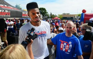 76ers Beach Bash: 76ers' Nerlens Noel is interviewed by media at the 76ers' Annual Beach Bash at Jack's Place in Avalon, Saturday July 27 2013. (The Press of Atlantic City / Ben Fogletto) - Ben Fogletto