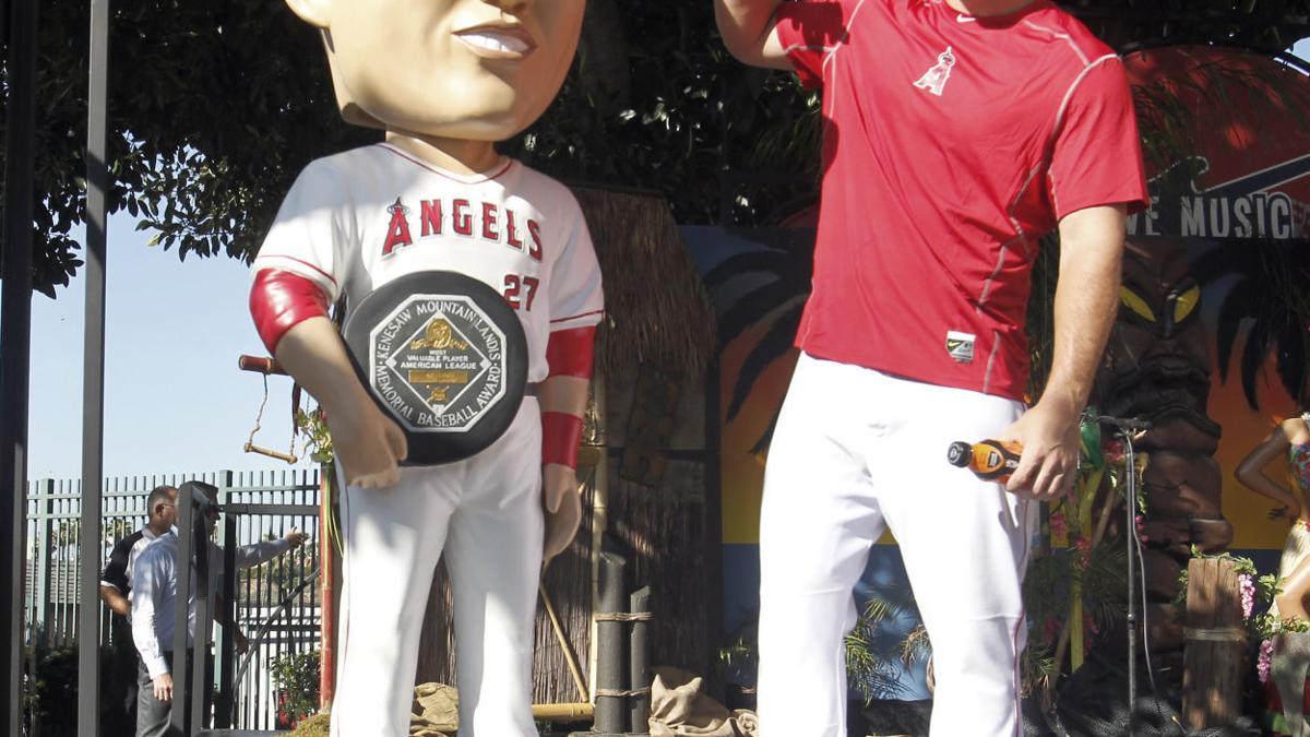 Mike Trout's life-size bobblehead statue