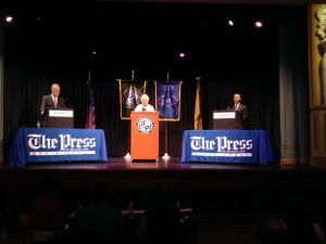 Debate: The 2nd Legislative debate between state Sen. James Whelan and Atlantic County Sheriff Frank Balles begins at Dante Hall in Atlantic City. - Vernon Ogrodnek