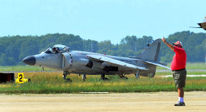 Personal Harrier: Monday June 24 2013 Former Royal Navy SeaHarrier jet privately owned by Art Nalls, Lt. Col. USMC (ret) lands at Atlantic City International Airport in EHT for the upcoming Atlantic City Air Show. (The Press of Atlantic City / Ben Fogletto)  - Ben Fogletto