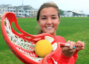 A: Tess Solazzo is The Press Girls Lacrosse Player of the Year for the second straight season. Solazzo helped the Red Raiders go 15-4 this spring, scoring 110 goals and leading the state with 111 assists.  - Vernon Ogrodnek