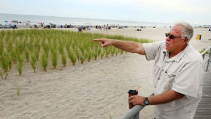 Margate Dunes: Ventnor Mayor Mike Bagnell tands at Richards Avenue in Ventnor to show where the dunes end leading toward Margate. - Ben Fogletto