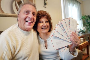 Love Stories - DeTittia: Tuesday February 11 2014 Louis and Phyllis DeTitta of Little Egg Harbor re-read their old love letters. (The Press of Atlantic City / Ben Fogletto) - Photo by Ben Fogletto
