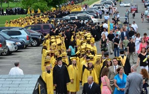 SOUTHERN REGIONAL GRADUATION: Graduates fill the parking lot waiting to enter the field. Friday June 14 2013 Southern Regional Graduation. (The Press of Atlantic City / Ben Fogletto)  - Photo by Ben Fogletto
