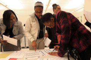 Chill: From left, Yvonne Allmond, of Mays Landing, Kendra Carter and Zahnirah Dillon, both 13 from Atlantic City, during a CHILL program meeting at the Atlantic Cape Community College campus in Atlantic City on April 17.  - Photo by Vernon Ogrodnek