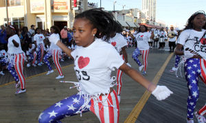 "Miss America Parade: Performers from the Camden Sophisticated Step Drill Team. Miss America ""Show Me You Shoes"" Parade on the Atlantic City Boardwalk Thursday Sept. 12, 2013,. (Dale Gerhard Photo/Press of Atlantic City) - Dale Gerhard"
