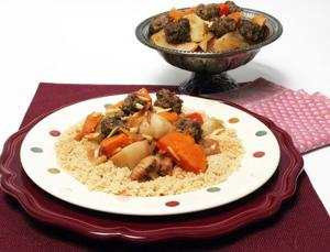 Bison meatballs dress up this Moroccan Tagine