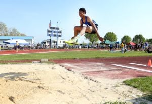 Atlantic County Track And Field Championships: Oakcrest's Jordan Ingrum places second in long jump during Atlantic County track and field championships at Buena Regional High School Thursday, May, 8, 2014. - Edward Lea