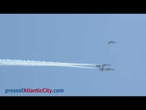 U.S. Air Force Thunderbirds practice over the Atlantic City beach