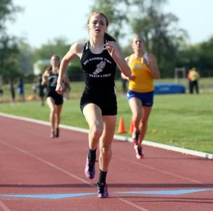 Atlantic County Track And Field Championships: Egg Harbor Township's Julianna Catania places first in 1600 mm during Atlantic County track and field championships at Buena Regional High School Thursday, May, 8, 2014. - Edward Lea