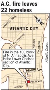 Atlantic City fire leaves 22 homeless