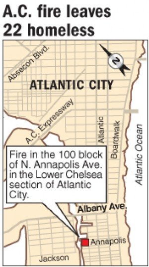 Atlantic City fire leaves 22 homeless