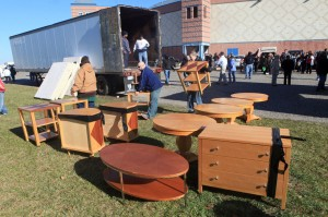 PIF FURNITURE GIVEAWAY: Donated furniture and mattresses are unloaded at Sandcastle Stadium, in Atlantic City, Wednesday Nov. 14, 2012, in an effort to help Atlantic City school families affected by Hurricane Sandy, coordinated by Atlantic City schools working with Cooper Levenson law firm.