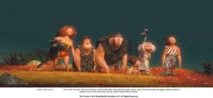 Two Talented 'Crood' Guys Talk About Animating The Stone Age: The Croods — Eep (Emma Stone), left, Thunk (Clark Duke), Grug (Nicolas Cage), Sandy, Gran (Cloris Leachman) and Ugga (Catherine Keener) — embark on the world's first family road trip in the animated film 'The Croods.'