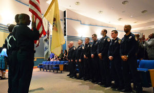 Acfd Staffing: New firemen stand facing the Color Guard during ceremony. Friday March 1 2013 Atlantic City Fire Department graduates 13 new recruits during a ceremony at the Atlantic City High School auditorium. (The Press of Atlantic City / Ben Fogletto)  - Ben Fogletto
