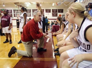 : Wildwood High School girls basketball coach Dave Troiano won his 600th career coaching victory in a win against Cape May County Technical High School. Troiano talks to his team during introductions. Tuesday Jan. 29, 2013. (Dale Gerhard/Press of Atlantic City)  - Dale Gerhard