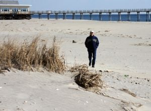 Still Anti Dune After Sandy: Glenn Klotz, of Margate, walks by the dunes at Huntington Avenue, in Margate. Glenn Klotz, of Margate, is one of the last members of the anti-dune group DUNE still living in the area. He is also one of the few remaining anti-dune people in the area, even after Sandy. Wednesday, January, 23, 2013( Press of Atlantic City/ Danny Drake)  - Photo by Danny Drake